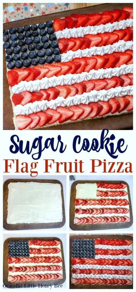 Make this super easy Sugar Cookie Flag Fruit Pizza for a fun Memorial Day or 4th of July Dessert on gracefullittlehon...  Read More About This Recipe Click Here Sugar Cookie Flag Fruit Pizza