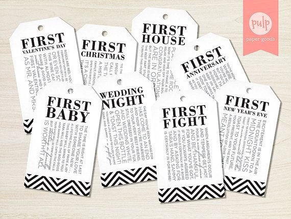 Digital File Printable Bridal Shower Milestone Wine Tags With Poems