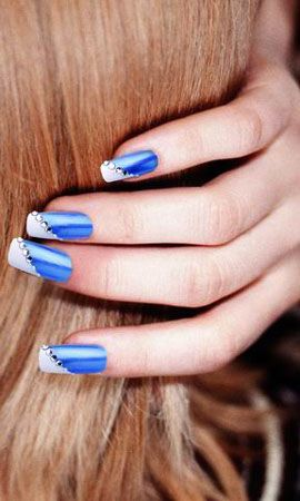 French manicure  blue.