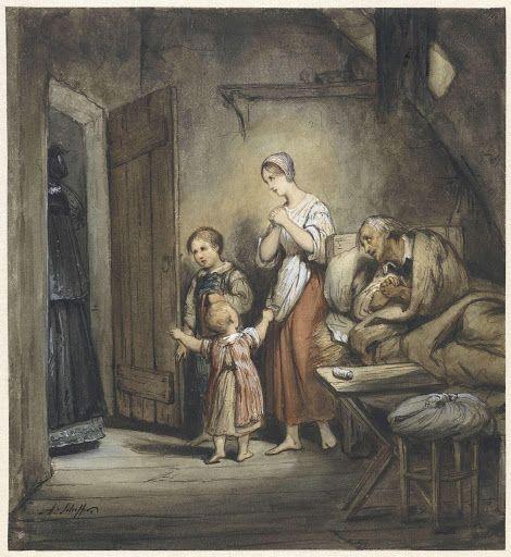 Zieke man in bed met naast hem een vrouw en twee kinderen - Google Arts & Culture