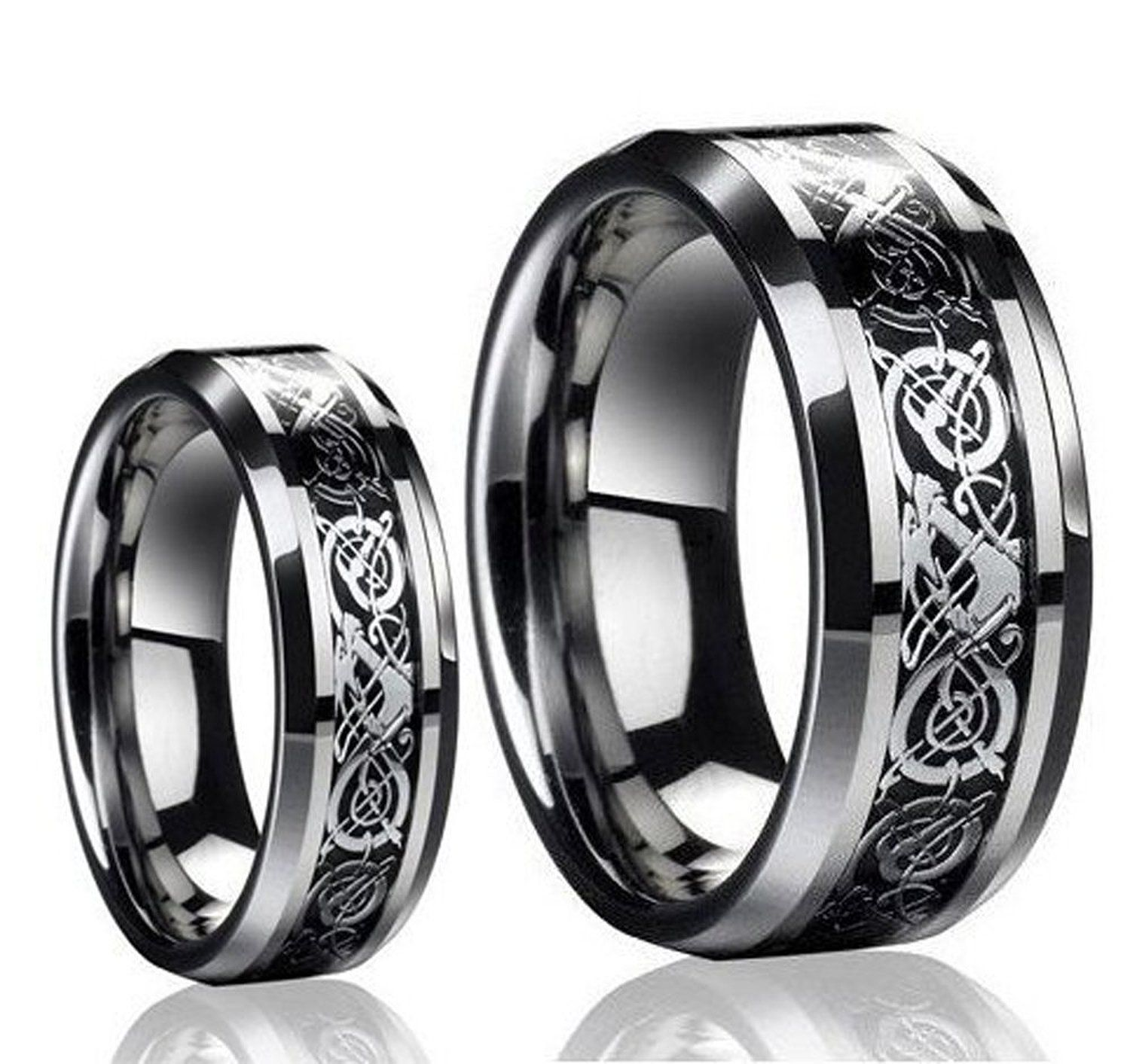 His & Her s 8MM 6MM Tungsten Carbide Celtic Knot Dragon Design