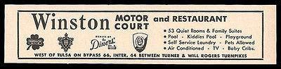 Winston Motor Court Ad Rt66 Tulsa Oklahoma 1964 Roadside Ad Route 66 Travel OK
