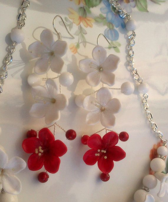 Red Winter Floral Jewelry Set Green White Polymer Clay