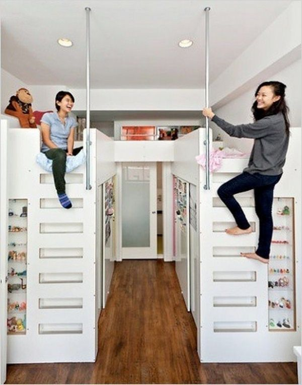 These Duo Loft Beds Over Walk In Closets Provide Personal Spaces In A  Shared Room.