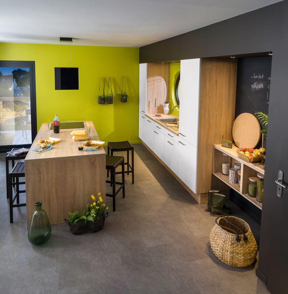 Meuble De Cuisine Vert Anis biomania   cuisine blanche et bois, idée déco cuisine et