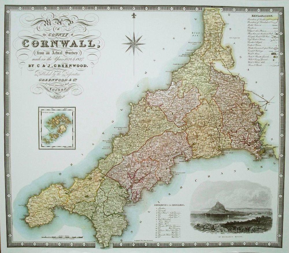 Map of Cornwall - C J Greenwood - 39cms x 33cms | eBay ...