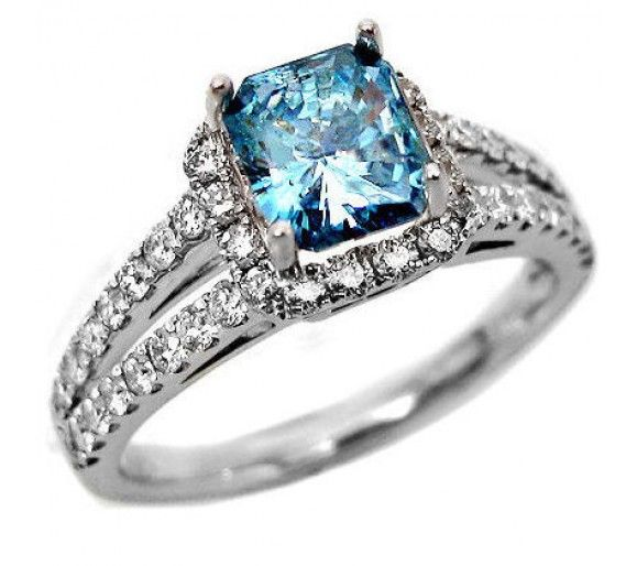 blue diamond engagement rings 90ct radiant blue diamond engagement ring in 18k white gold - Blue Wedding Ring