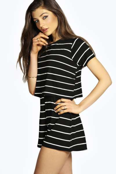 4115732cbfc Christa Striped Tshirt Style Casual Playsuit at boohoo.com