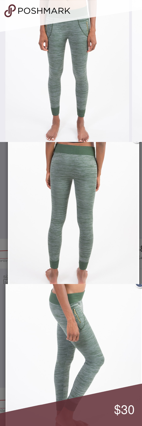 35a62df929 NEW Olive Fleece Space Dyed Zip Pocket Leggings NWT fleece lined leggings  with Zipper pockets size L/XL Pants Leggings
