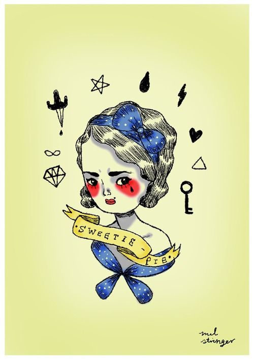 "Mel Stringer. Sweetie Pie. ""Vintage tattoo-inspired portrait of Sweetie Pie."""