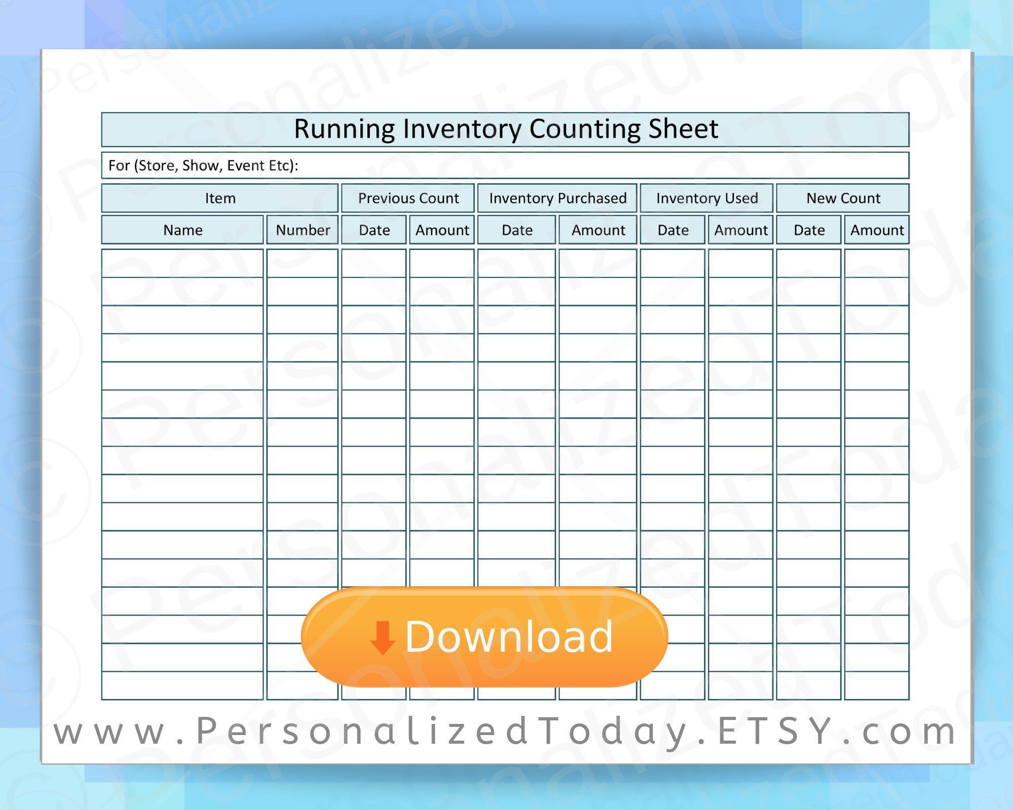 Business Running Inventory Counting Form Printable