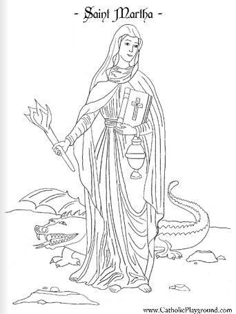 Saint Martha Catholic coloring page. Feast day is July 29