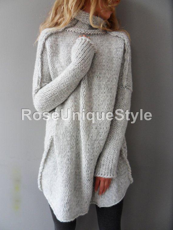 Oversized Handmade Chunky knit Alpaca woman sweater en 2019  001d26d04689