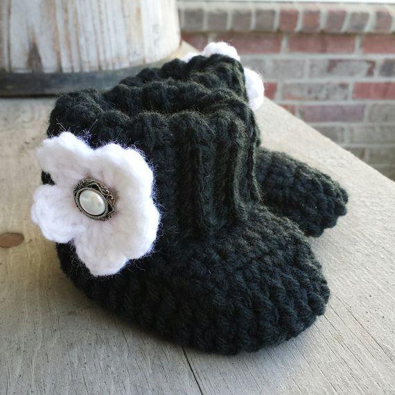 baby black booties