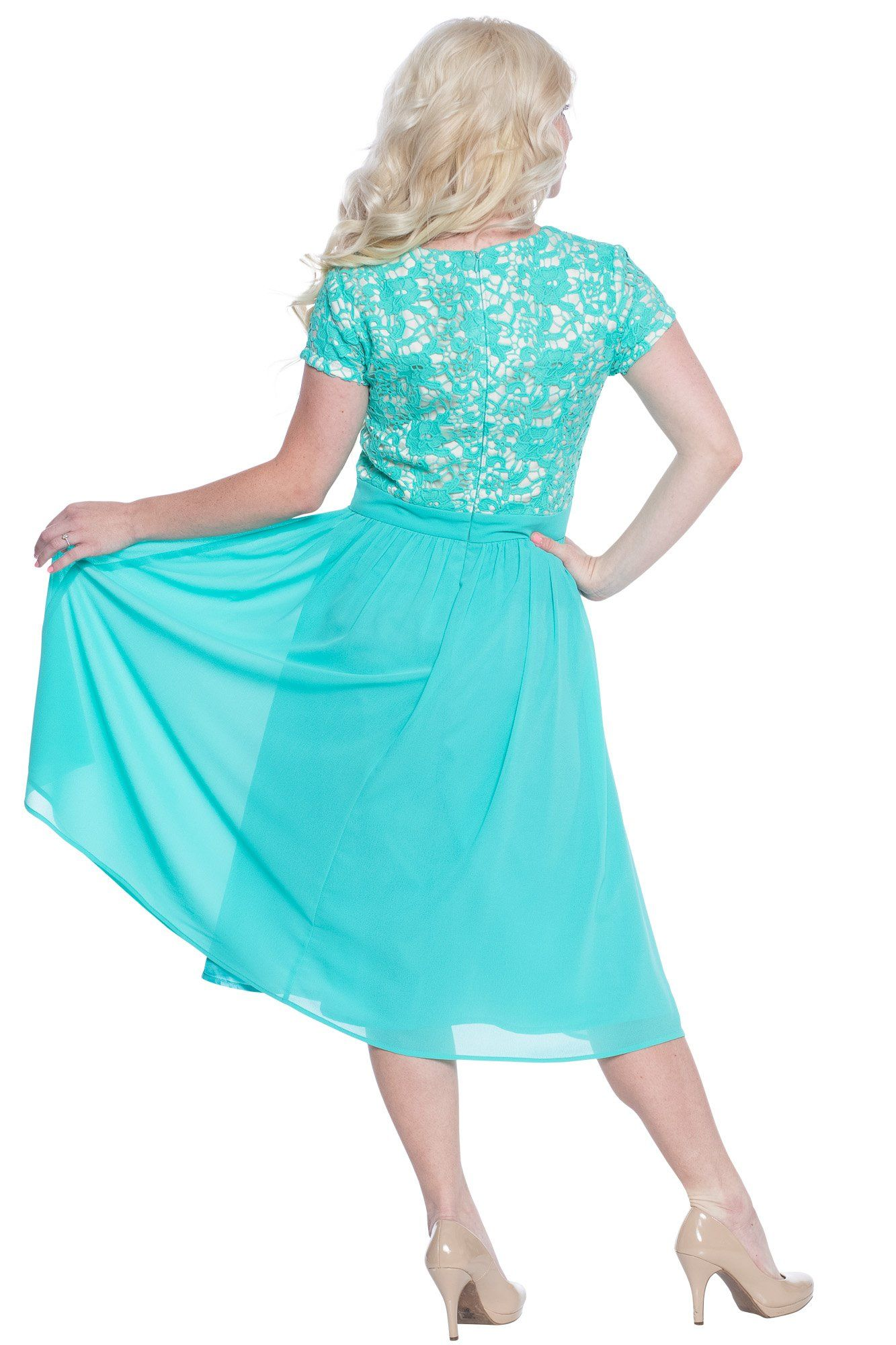 a535720c080 Olivia Lace and Chiffon Modest Dress In Turquoise Tiffany Blue or ...