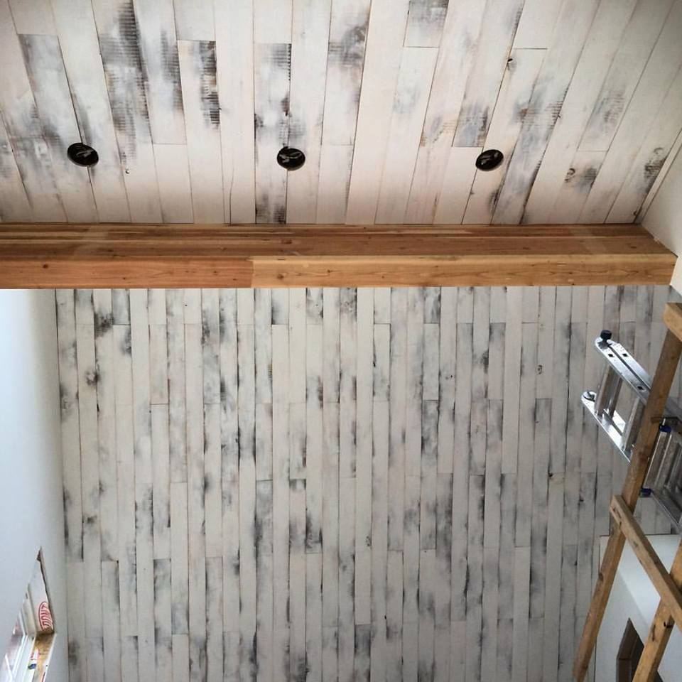 Hand Painted Aspen Wood Ceiling Torched The Wood And White Wash