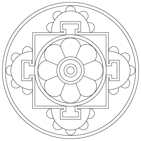 simple tibetan mandala coloring page - Simple Mandala Coloring Pages