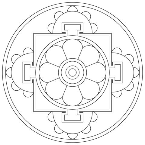 Simple tibetan mandala coloring page
