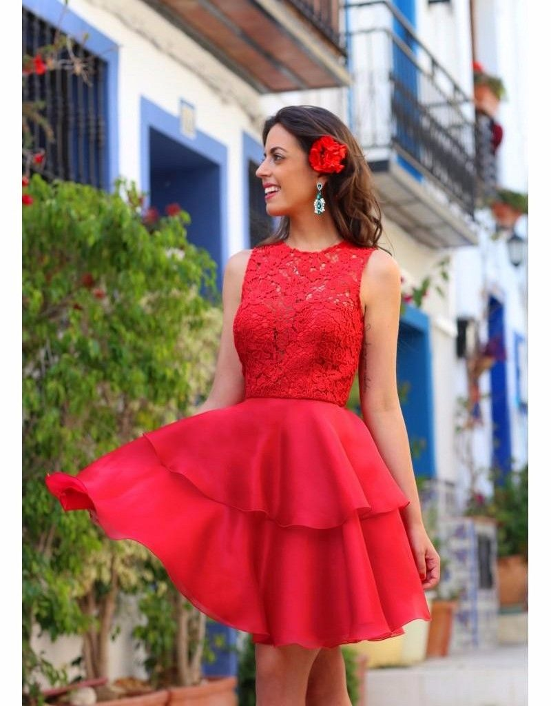 Arabic Red New Short Homecoming Dresses 2016 Sheer Neck Lace Bodice Sexy Keyhole Back 8th Grade Mini Prom Dress vestido curto