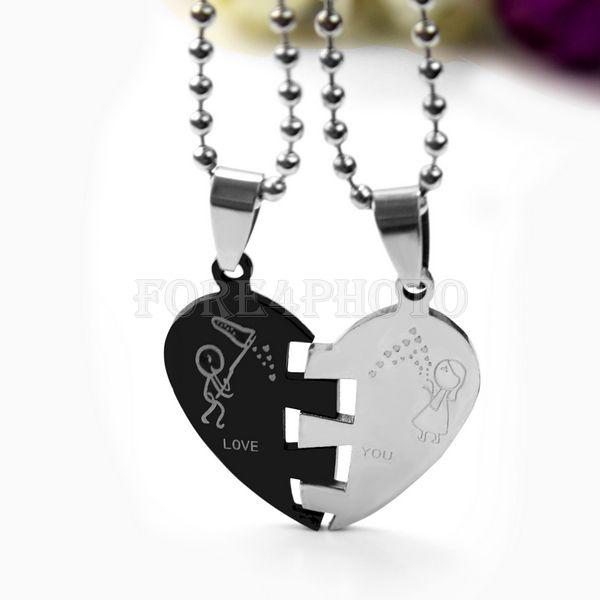 Acier Inoxydable Couple Amour Coeur Cristal Collier Pendentif Saint Valentin Cadeau