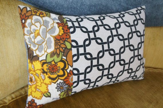 patchwork pillow case 16x24 vintage floral black and by HAWThome