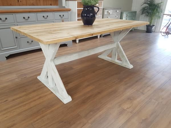 distressed trestle table  made from reclaimed wood  any