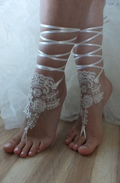 ivory lace pearls,bridal sandals, free ship,  from bridal accessories by DaWanda.com