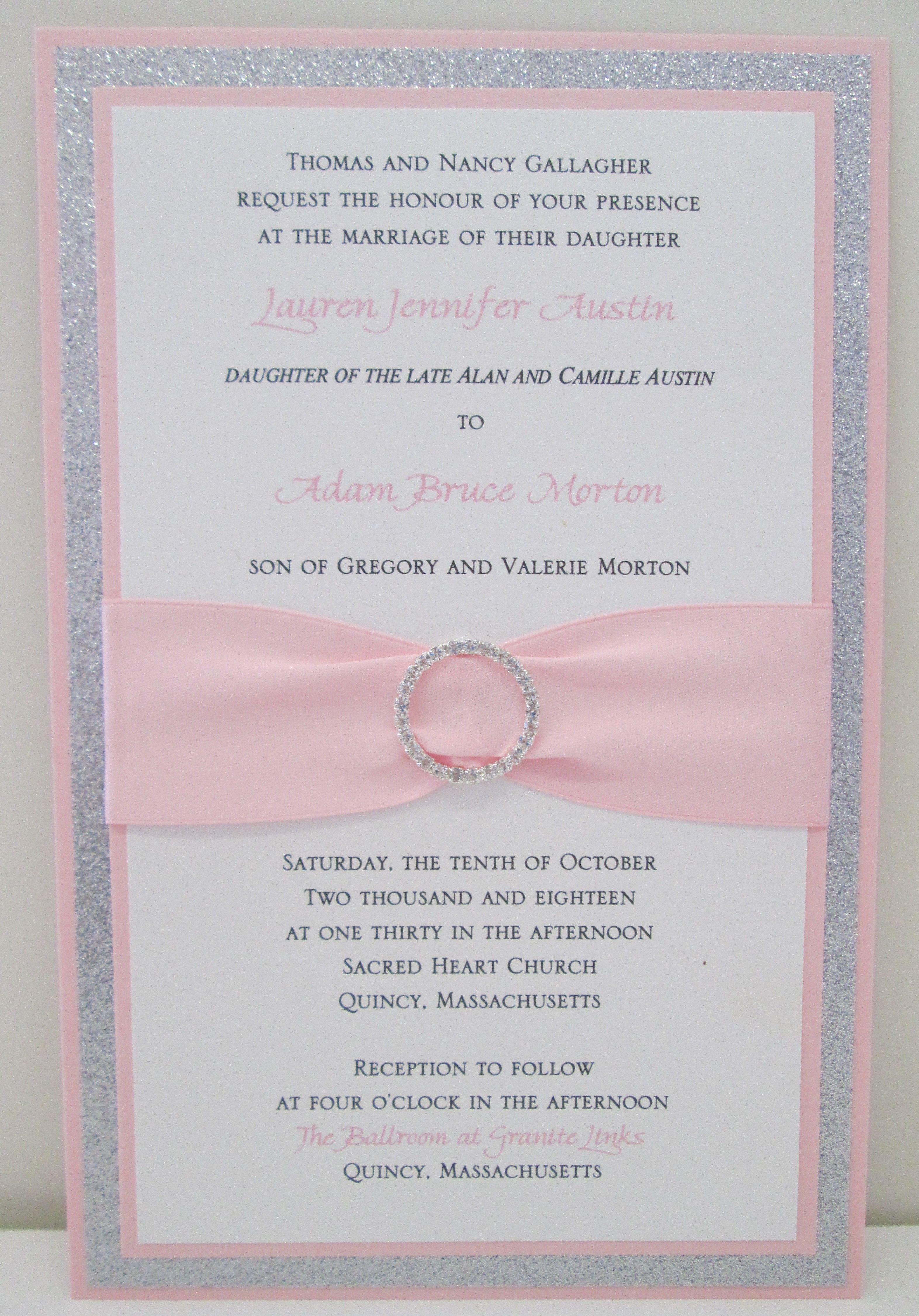 bling wedding invitations Multi Layer wedding invitations with glitter ribbon and rhinestone bling