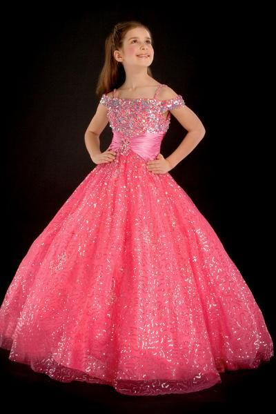 Lovely ball gown off the shoulder neck floor-length babay pink Little Girl  Pageant gown QDLGLJ64  295 2800c4e3e48a