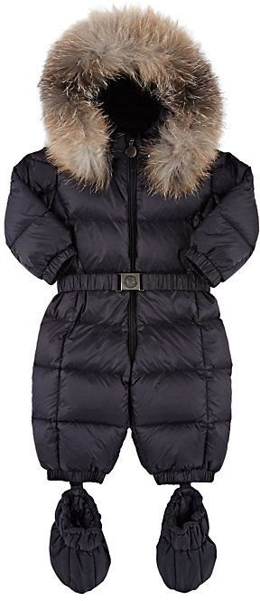 4d0b2871c baby  Moncler  Fur- Trimmed  Down- Quilted  Snowsuit- NAVY