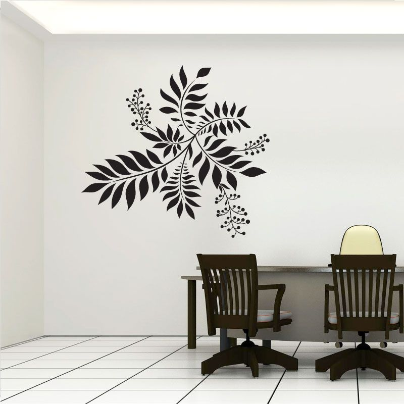 Cool Wall Decals | Flower Feature Wall Art Decals #coolwalldecals  #blackleaveschair #table