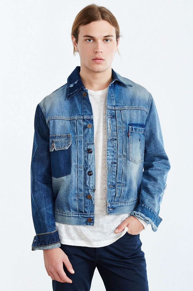 Urban Outfitters Xl Men S Levi S Red Arm Rip Repaired Denim Jacket