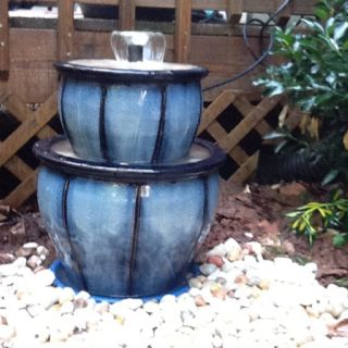 Figured out how to make from all my fountain pins.  Still needs more rocks & to hide the cord.  Three pots, recommend bottom pot to have NO wholes.  One pot hidden inside for pump with a cake cooling rack on top for third pot to sit on.  Make sure each pot is level.