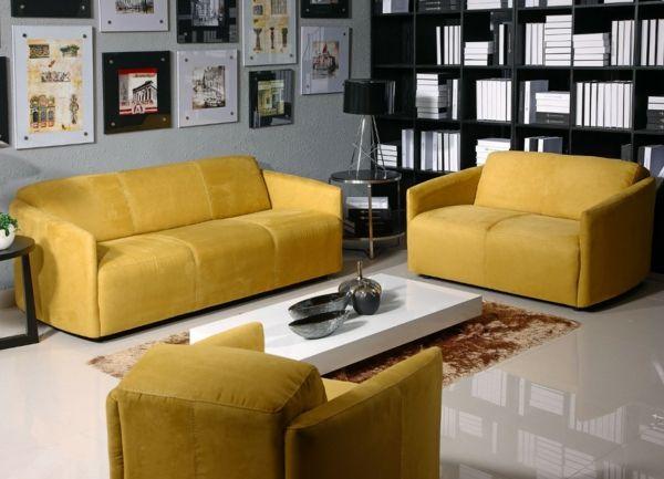 tolles wohnzimmer gelbe sofas weißer couchtisch deko | Wohnzimmer ...