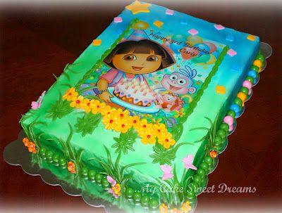 Dora Birthday Cake Edible picture buttercream icing fondant