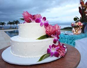 wedding cake with ginger flowers