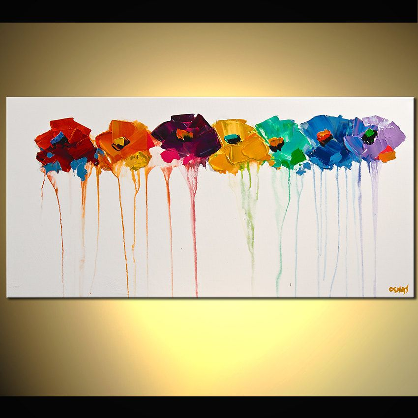 """Abstract Floral Painting ORIGINAL Colorful Flowers On White Canvas With Palette Knife  Ready To Hang by Osnat  36""""x18"""". $300.00, via Etsy."""