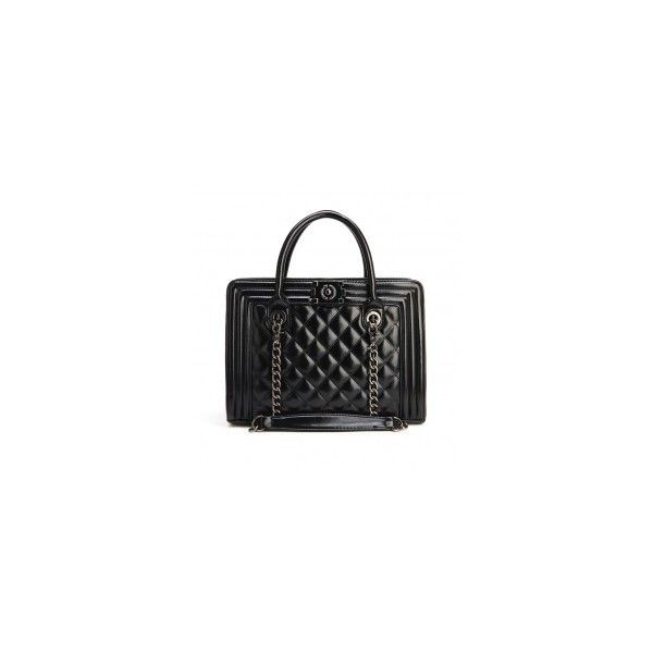 Retro Tote With Quilted Panel (300 EGP) ❤ liked on Polyvore