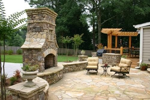 Patio Fireplace | Outdoor Fireplace With Patio And Pergola In Patio And Fireplace