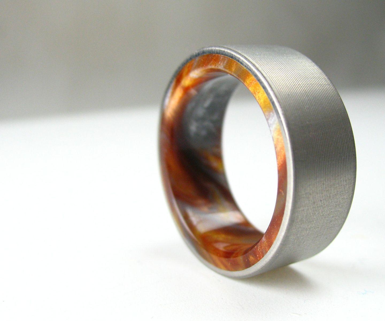 Custom Made Titanium Wood Tone Burl Mens Wedding Band Iced