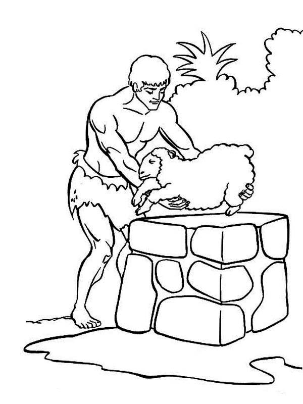 Abel & Cain, : Abel Sacrifice Sheep in Abel and Cain Coloring Page ...