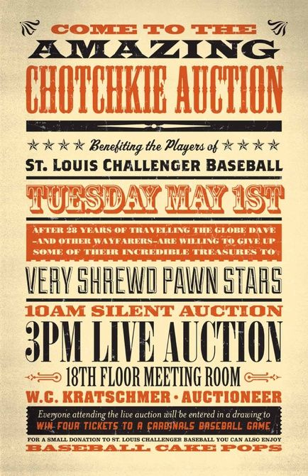 Auction Poster Vintage Poster Design Wood Type Poster Typography Poster