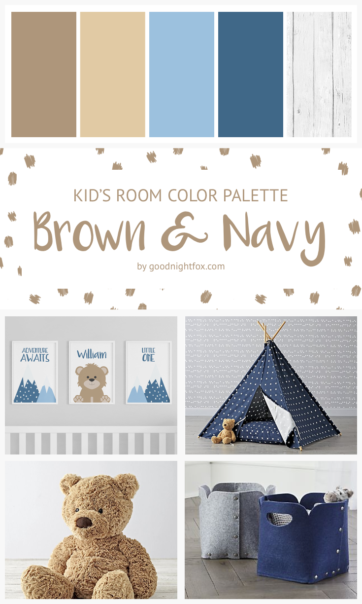 Brown Navy Color Palette Boy S Room Baby Modern Nursery Teddy Bear Kids
