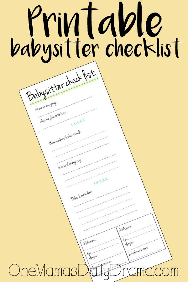 It is a picture of Intrepid Babysitter Checklist Printable