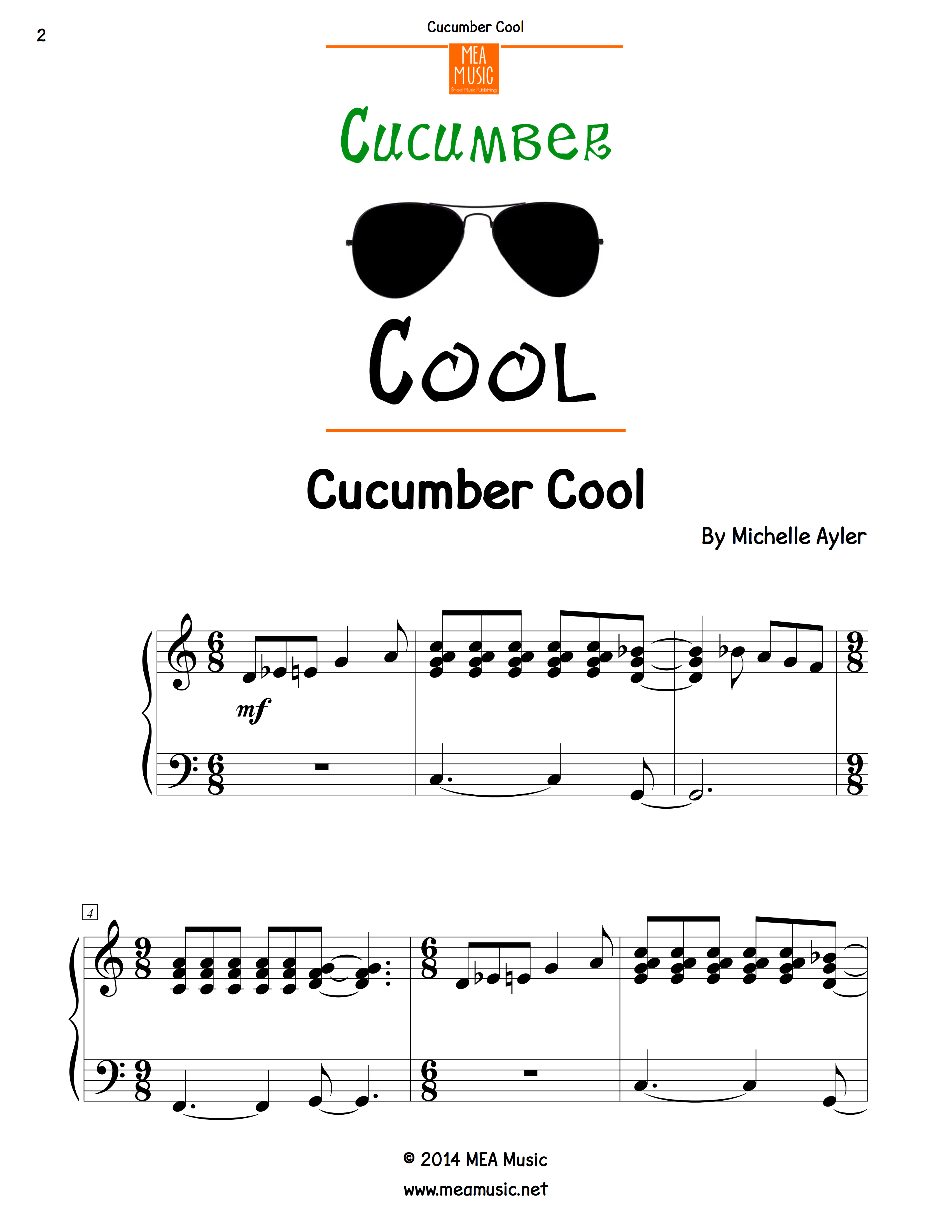 Cucumber Cool Advanced Piano Sheet Music  Download instantly