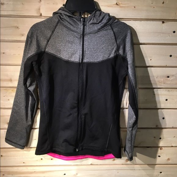 Layer 8 jacket Layer 8 size large dry fit pink black and gray full zip hooded long sleeve jacket Layer 8 Jackets & Coats