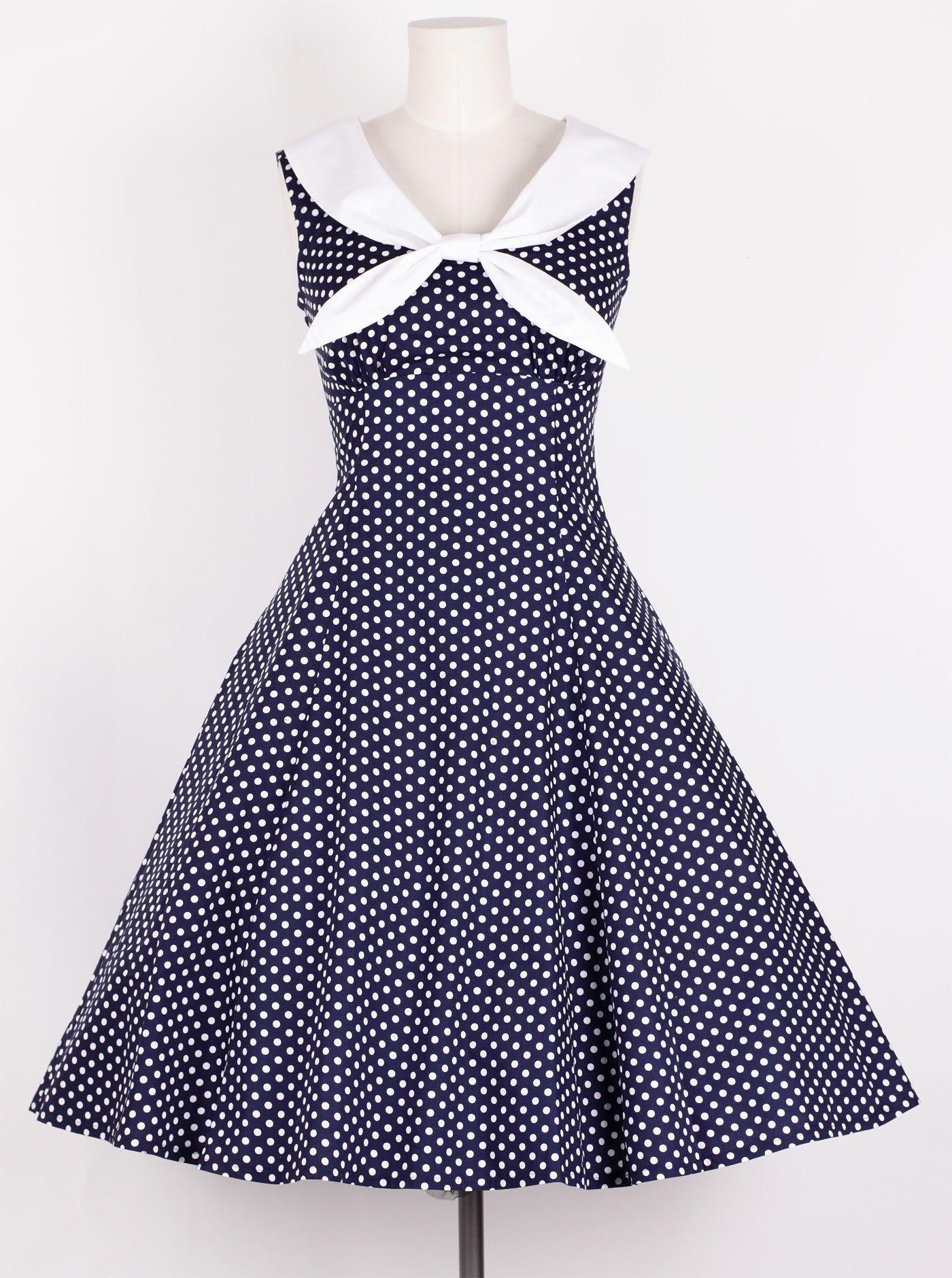 dd9dd14eb286 50s Vintage Size L WhiteDot/Navy Blue Sailor Dress Polka Dot ...