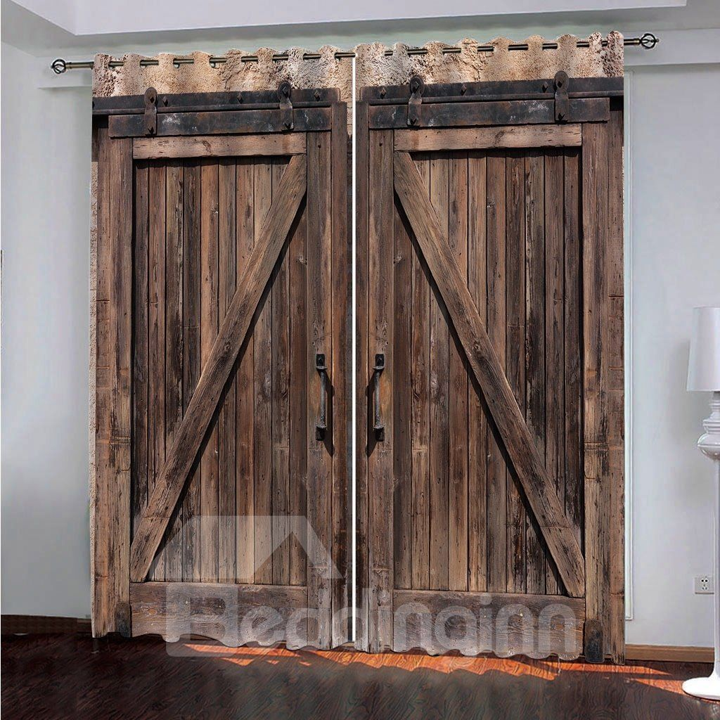 3d Old Wooden Barn Door Decorative Polyester Custom Blackout Curtains For Living Room And Bedroom In 2020 Wooden Barn Doors Curtains Living Room Barn Door