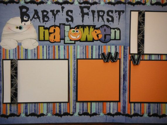 Premade Baby's First Halloween Scrapbook Pages for boy girl family.  via Etsy.