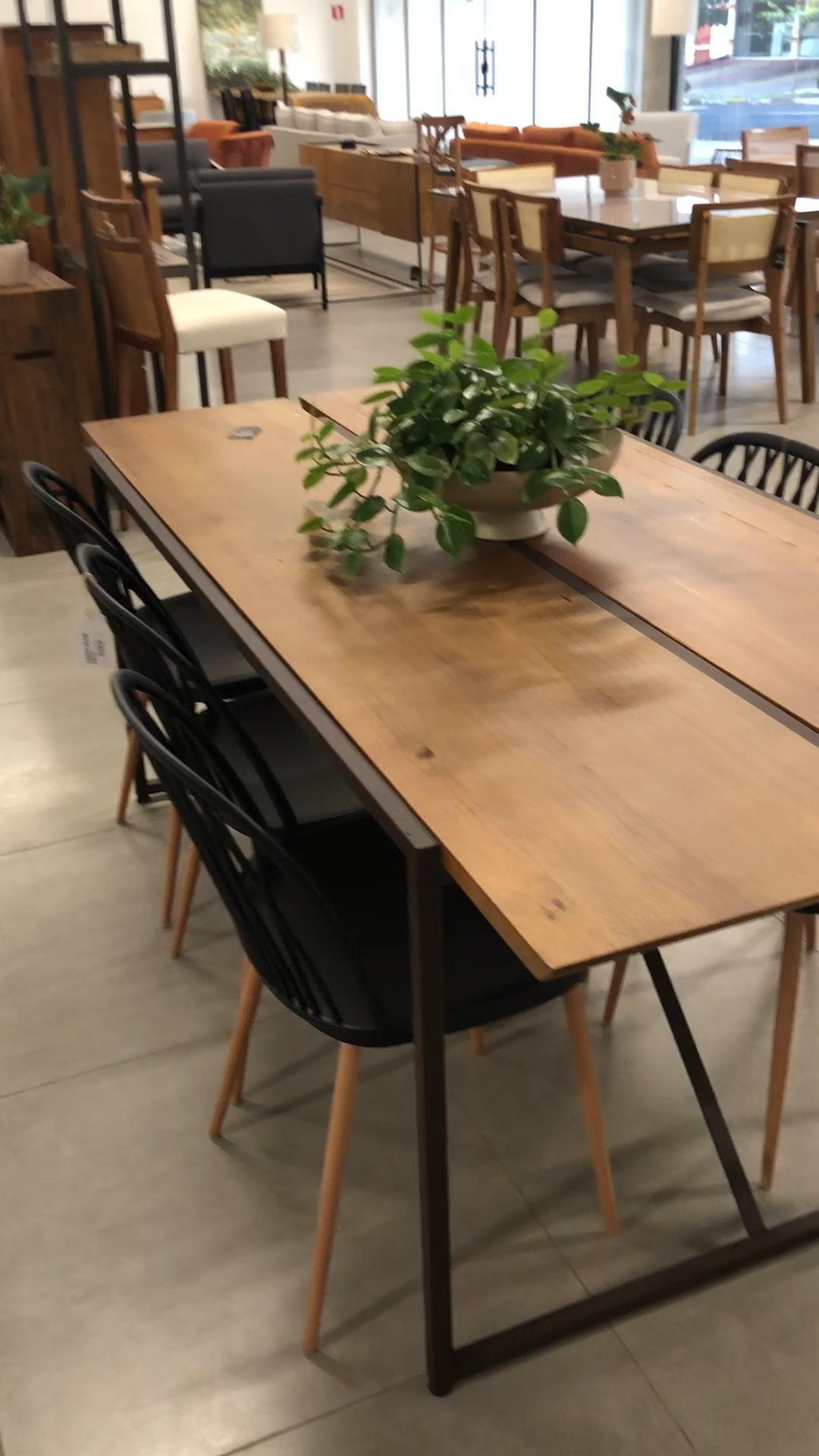 Mesa de Jantar Lumber Artefama Design Exclusivo Estilo Industrial Ferro e Madeira - Toth Móveis